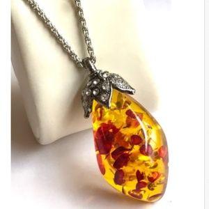 "Silver Honey Amber Necklace Vintage Art Deco 22"""